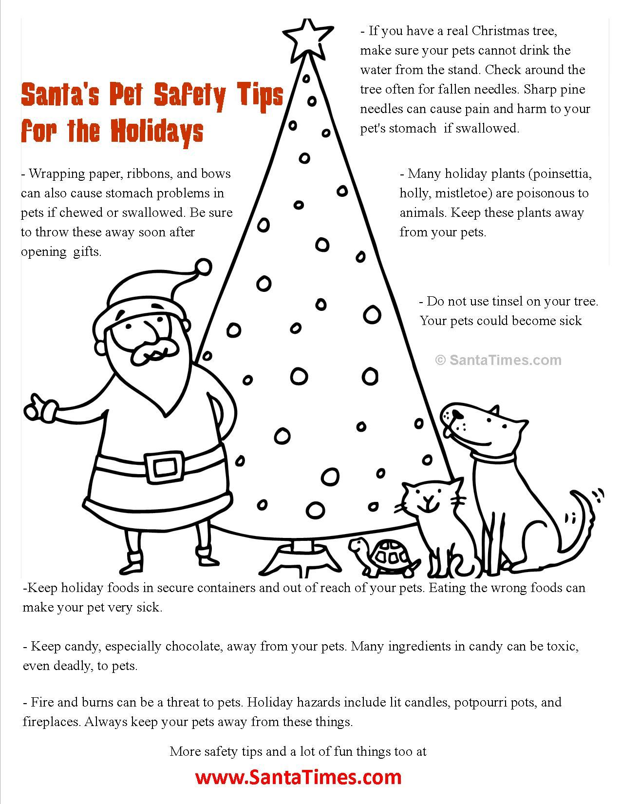 santa pet safety list coloring page